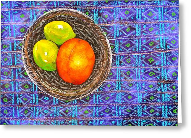 Peach And Limes Still Life Greeting Card by Ion vincent DAnu