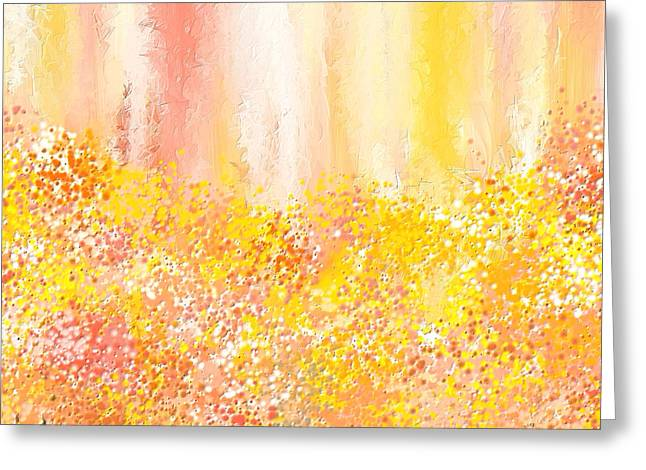 Peach Greeting Cards - Peach And Yellow Garden- Peach And Yellow Art Greeting Card by Lourry Legarde