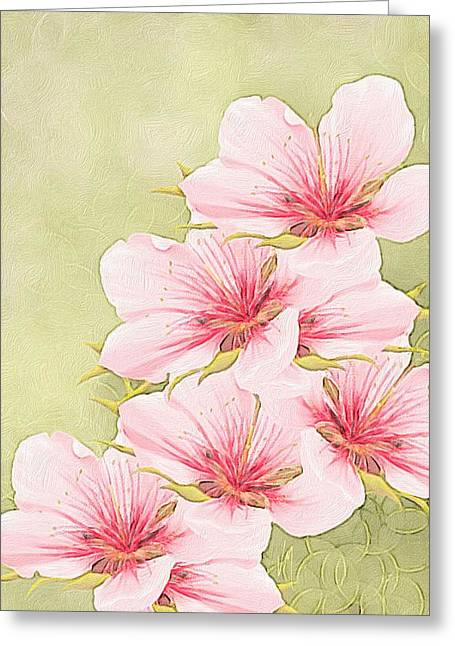Peaches Paintings Greeting Cards - Peach blossom Greeting Card by Veronica Minozzi