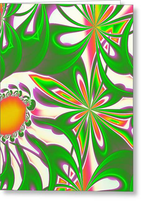 Manley Greeting Cards - Peach Blossoms - A Fractal Design  Greeting Card by Gina Lee Manley