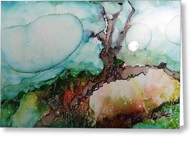 Tree Roots Paintings Greeting Cards - Peach Earth Greeting Card by Donna Pierce-Clark