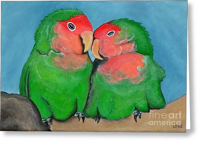 Peach-faced Lovebird Greeting Cards - Peach Faced Love Birds Greeting Card by Una  Miller