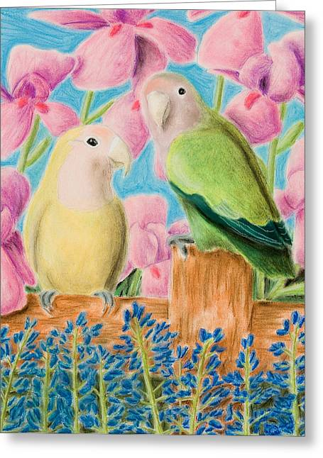 Rosy-faced Lovebird Greeting Cards - Peach-faced Lovebird Greeting Card by Jeanette K