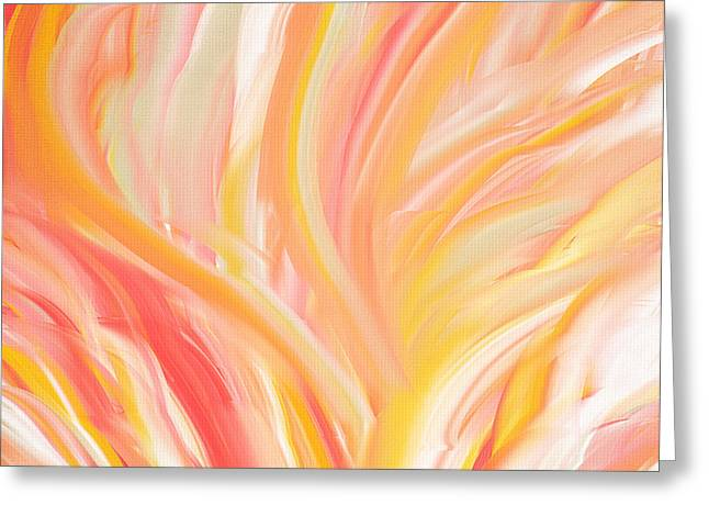 Green Abstract Greeting Cards - Peach Flare Greeting Card by Lourry Legarde
