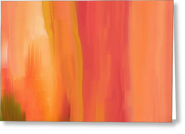 Blue And Orange Abstract Art Greeting Cards - Peach Floral Greeting Card by Lourry Legarde