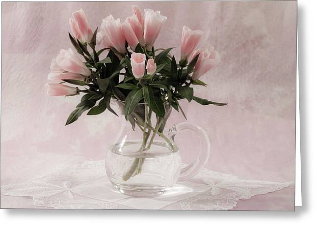 Interior Still Life Greeting Cards - Peach Godetia Bouquet Greeting Card by Sandra Foster