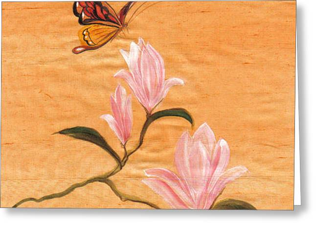 Peach Tapestries - Textiles Greeting Cards - peach II Greeting Card by Teresa Keel