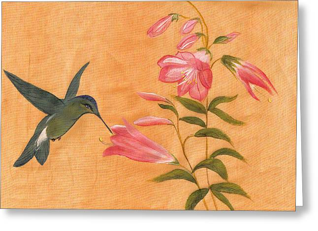 Peach Tapestries - Textiles Greeting Cards - peach III Greeting Card by Teresa Keel