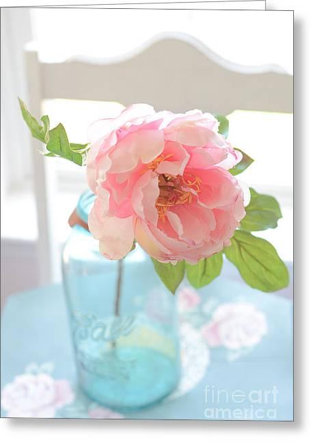 Ball Jars Greeting Cards - Dreamy Peony Vintage Mason Ball Jar - Ethereal Dreamy Peony Flower Shabby Chic Aqua Peach White  Greeting Card by Kathy Fornal