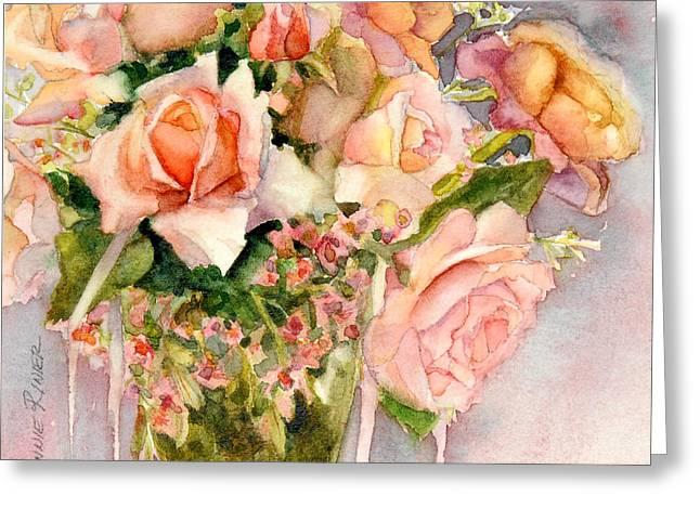 Peaches Paintings Greeting Cards - Peach Roses in Vase Greeting Card by Bonnie Rinier