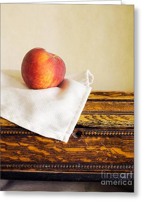 Fresh Greeting Cards - Peach Still Life Greeting Card by Edward Fielding