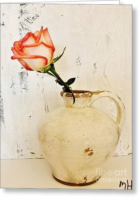 Pottery Pitcher Greeting Cards - Peach Trim Rose in Pottery Greeting Card by Marsha Heiken