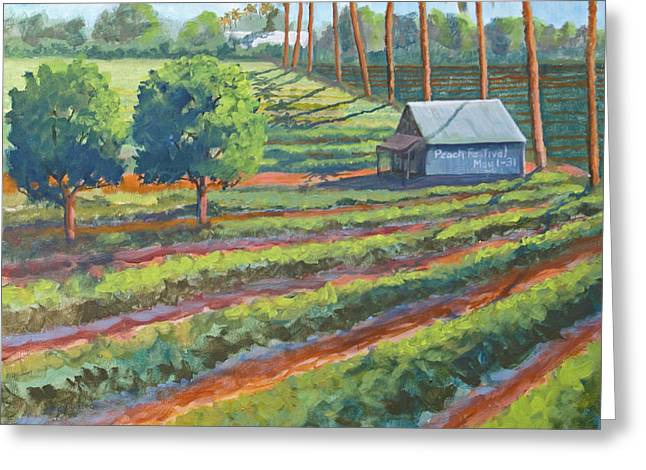 Wild Orchards Paintings Greeting Cards - Peach Valley Greeting Card by Heather Coen