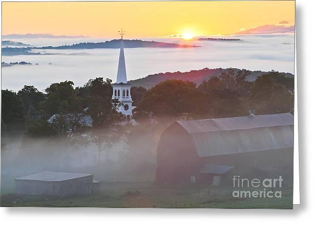 New England Village Greeting Cards - Peacham Vermont Sunrise Greeting Card by Alan L Graham