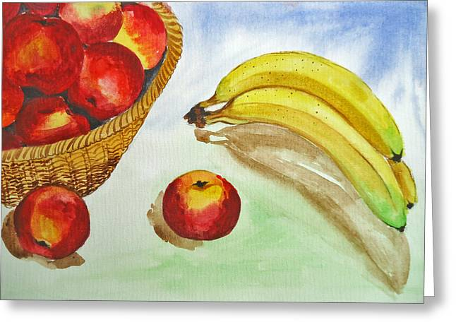 Shakhenabat Kasana Greeting Cards - Peaches and Bananas Greeting Card by Shakhenabat Kasana