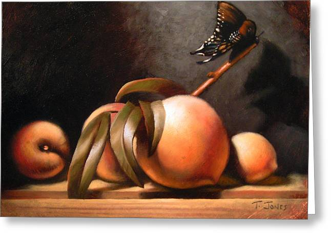 Peaches and Butterfly Greeting Card by Timothy Jones