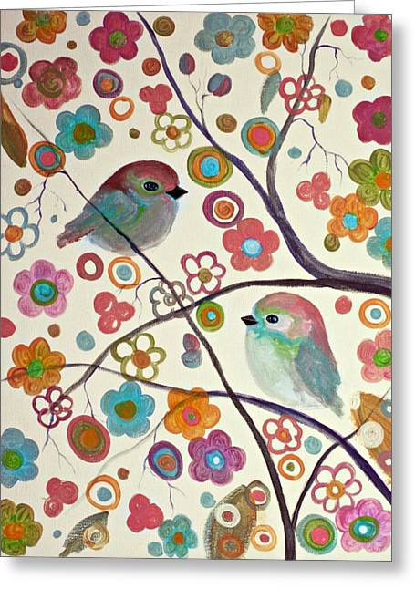 Bird On Tree Pastels Greeting Cards - Peaches and Cherry Blossoms  Greeting Card by Alma Yamazaki