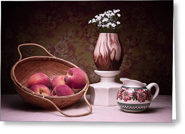Fresh Picked Fruit Greeting Cards - Peaches and Cream Sill Life Greeting Card by Tom Mc Nemar