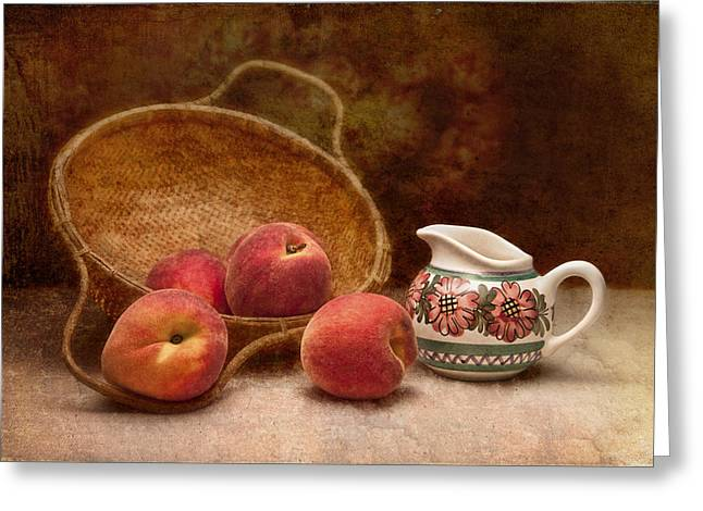 Fresh Picked Fruit Greeting Cards - Peaches and Cream Still Life II Greeting Card by Tom Mc Nemar