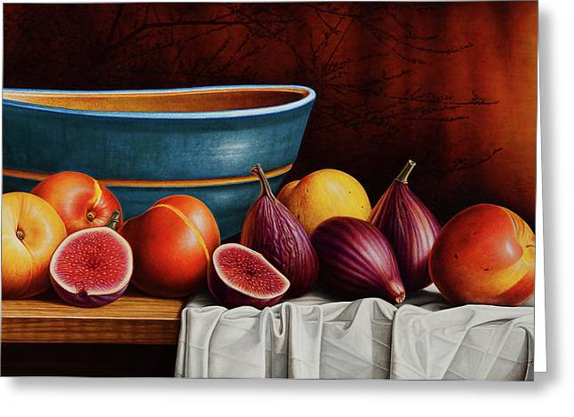 Cloth Greeting Cards - Peaches and Figs Greeting Card by Horacio Cardozo