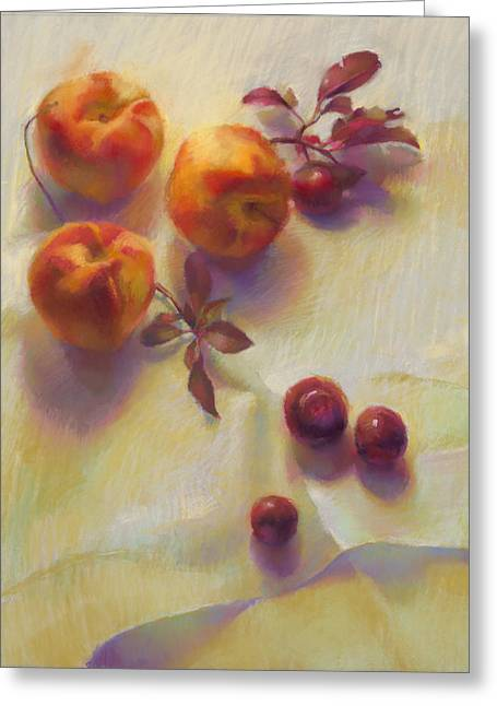 Peaches And Plums Greeting Card by Cathy Locke