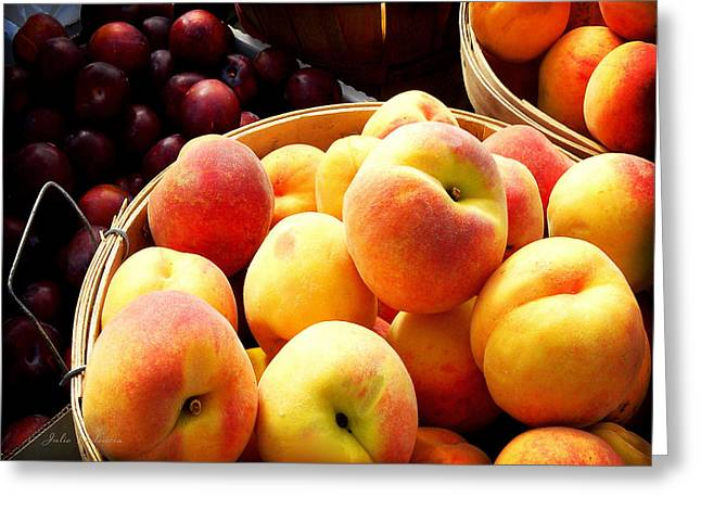 Fresh Produce Greeting Cards - Peaches and Plums Farmers Market Greeting Card by Julie Palencia