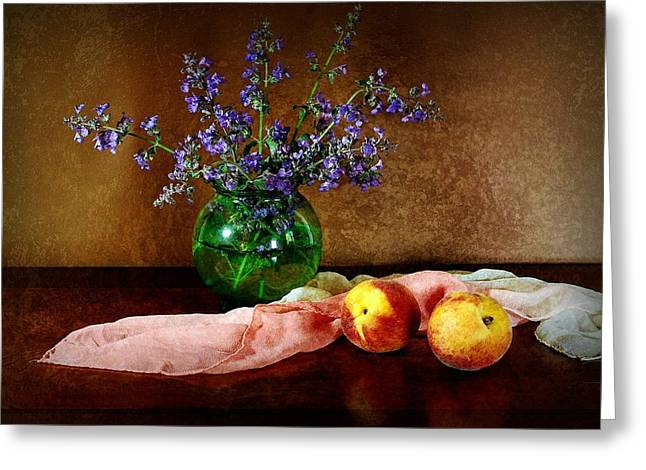 Still-life With Peaches Greeting Cards - Peaches and Silk Greeting Card by Diana Angstadt