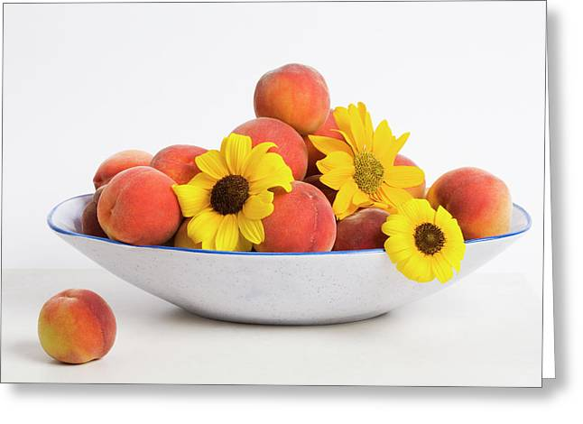 Peaches And Sunflowers Greeting Card by Diane Macdonald