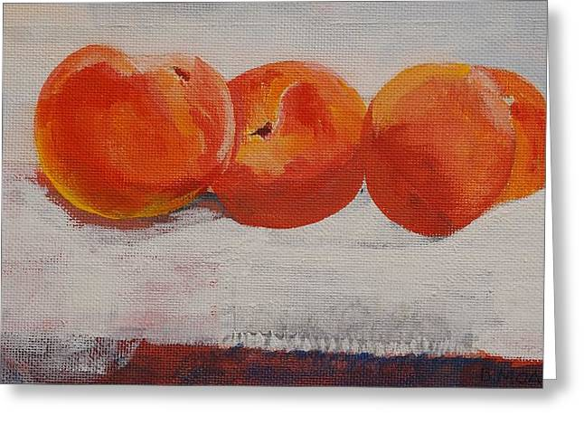 White Cloth Greeting Cards - Peaches for Peaches Greeting Card by Barbara Moak