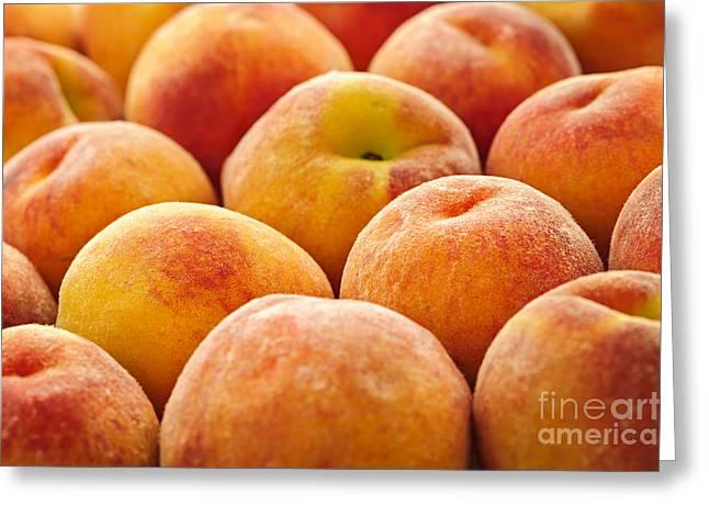 Peachy Greeting Cards - Peaches Greeting Card by Elena Elisseeva