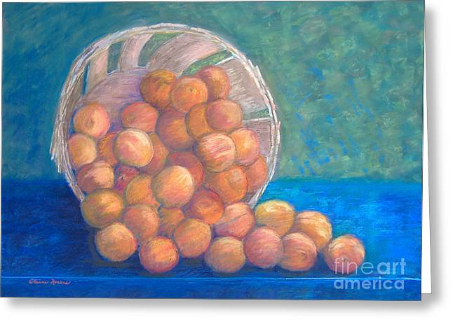 Peaches Pastels Greeting Cards - Peaches in a Basket Greeting Card by Claire Norris