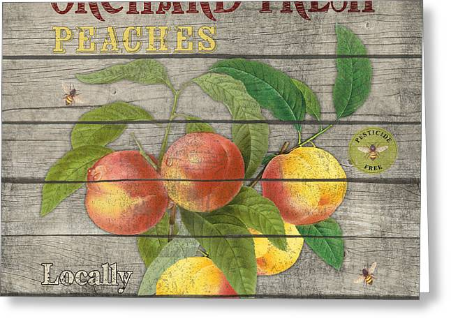 Locally Grown Paintings Greeting Cards - Peaches-JP2676 Greeting Card by Jean Plout