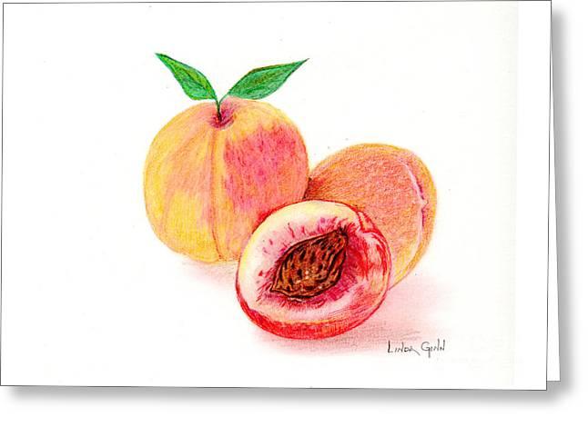 Peach Drawings Greeting Cards - Peaches Greeting Card by Linda Ginn