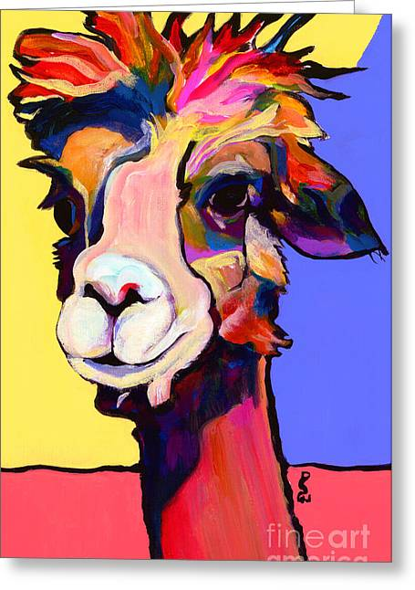 Alpaca Greeting Cards - Peaches Greeting Card by Pat Saunders-White