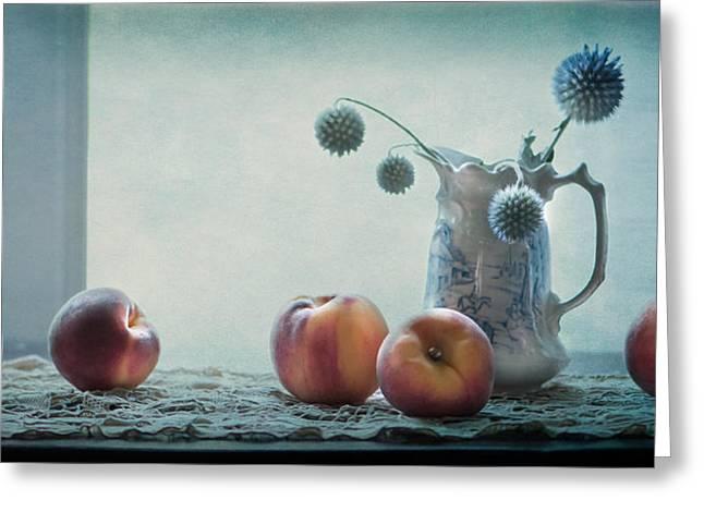 Peaches Still Life Greeting Card by Maggie Terlecki