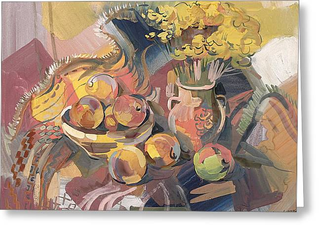 Still-life With Peaches Greeting Cards - Peaches with immorteles Greeting Card by Meruzhan Khachatryan