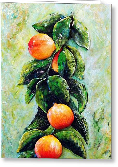 Original Sculptures Greeting Cards - Peachy day Greeting Card by Raya Finkelson