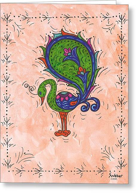 Susie Weber Greeting Cards - Peachy Peacock Greeting Card by Susie Weber