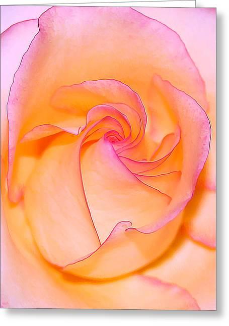 Geometric Digital Art Greeting Cards - Peachy Rose Greeting Card by Bill Caldwell -        ABeautifulSky Photography
