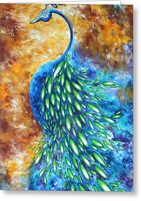 Jewel Tone Greeting Cards - Peacock Abstract Bird Original Painting IN BLOOM by MADART Greeting Card by Megan Duncanson