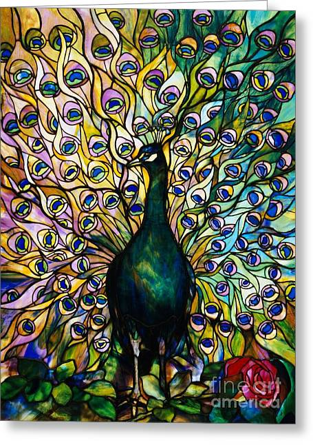 Stained Glass Glass Greeting Cards - Peacock Greeting Card by American School