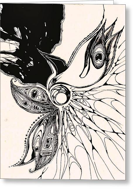 Andrea Carroll Greeting Cards - Peacock Greeting Card by Andrea Carroll