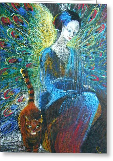 Cat Prints Pastels Greeting Cards - Peacock Angel and Cat Greeting Card by Alicja Coe