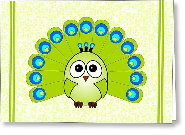 Nursery Theme Greeting Cards - Peacock  - Birds - Art for Kids Greeting Card by Anastasiya Malakhova