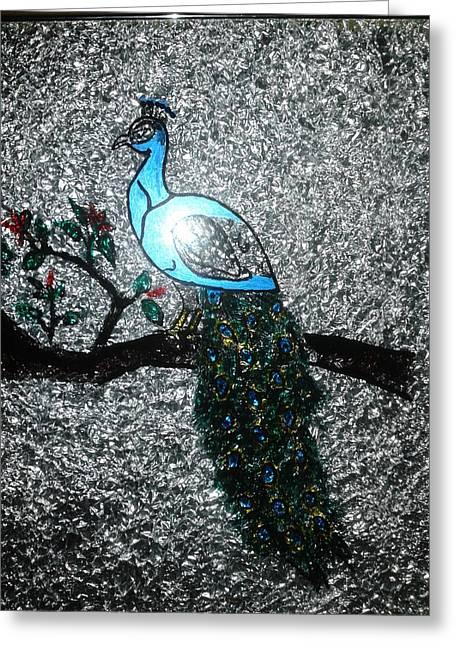 Birds Glass Greeting Cards - Peacock Greeting Card by Bindu  Thomas