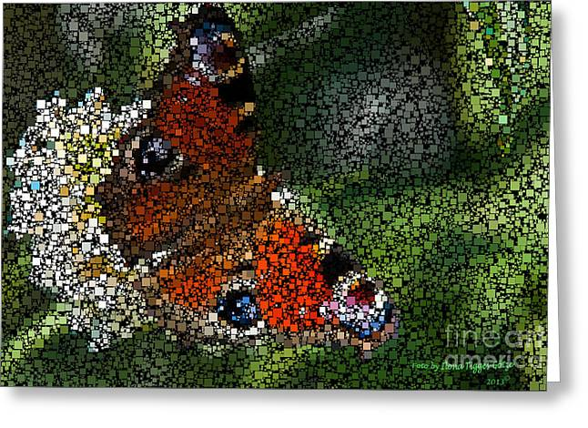 Spectacular Mixed Media Greeting Cards - Peacock Butterfly Mosaicked Greeting Card by  ILONA ANITA TIGGES - GOETZE  ART and Photography