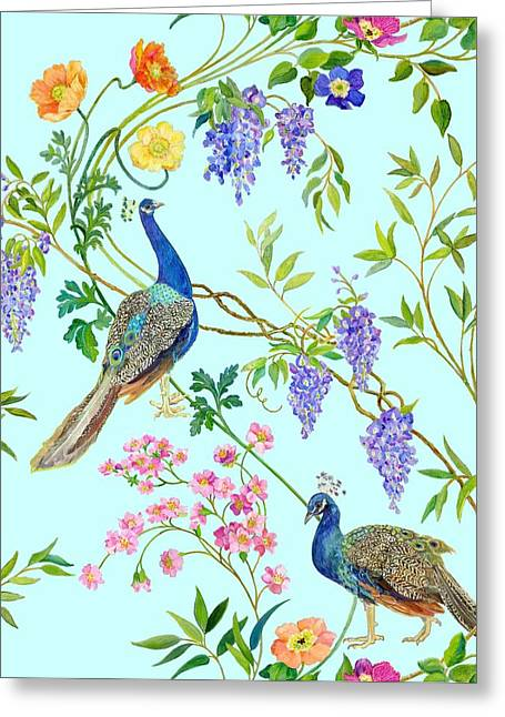 Green Leafs Drawings Greeting Cards - Peacock Chinoiserie Surface fabric design Greeting Card by Kimberly McSparran