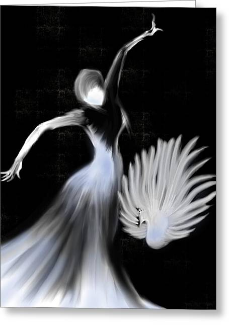 Evening Dress Mixed Media Greeting Cards - Peacock dance  Greeting Card by Len YewHeng
