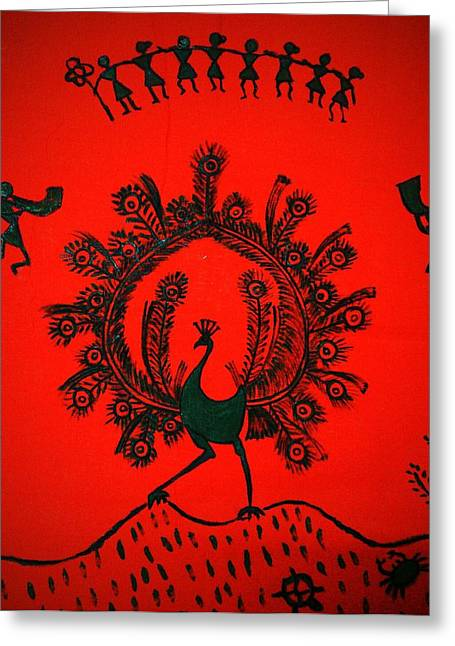 Orange Tapestries - Textiles Greeting Cards - Peacock Dance Greeting Card by Vineeth Menon