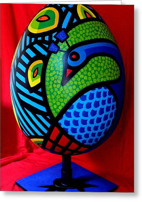 Acrylic Sculptures Greeting Cards - Peacock Egg II  Greeting Card by John  Nolan